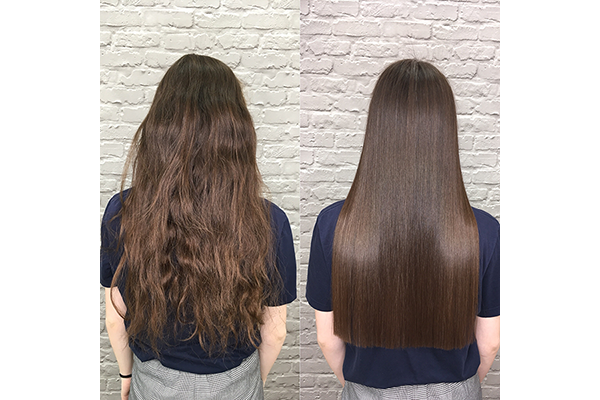 before and after hair smoothing